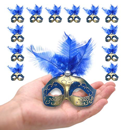 12PCS Mini Masks Party Decoration Luxury Feather Venetian Masquerade Supper Small Masks Novelty Gifts Royal Blue