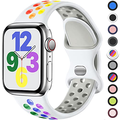Upeak Cinturino Compatibile con Cinturino Apple Watch 40mm 38mm 42mm 44mm, Cinturini con Fibbia Doppio Foro in Silicone Traspirante, per iWatch Series 6 5 4 3 2 1 SE, 38mm/40mm-S/M, Bianca/Arcobaleno