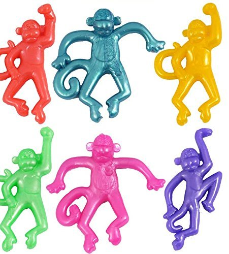 12 x STRETCHY MONKEY Party Bag Stocking Filler Stretch Animal Novelty Pinata Toy by The Toy Jar