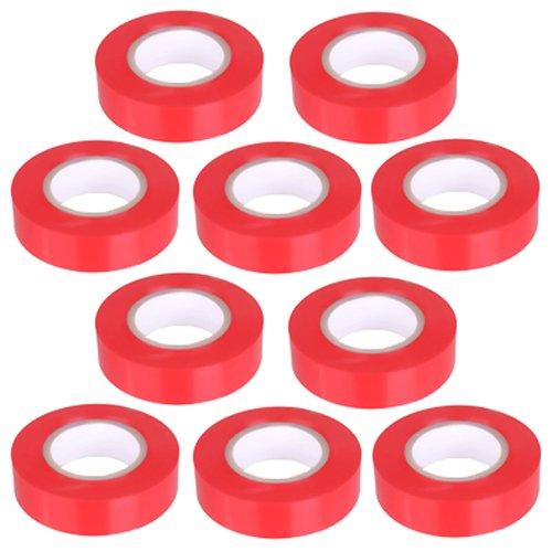 10pezzi–Nastro isolante in PVC nastro 10metri di lunghezza 15mm di larghezza–rosso -