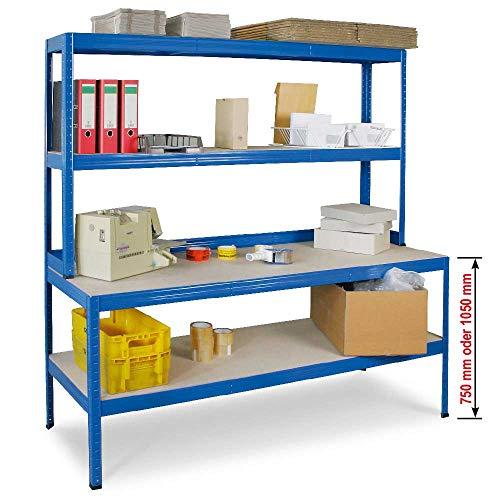 Packtisch/Werkbank mit Regalaufsatz und Regalboden, BxTxH 1800 x 600/300 x 1800 mm