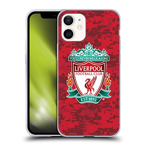 Official Liverpool Football Club Home Red Crest Digital Camouflage Soft Gel Case Compatible for Apple iPhone 12 Mini