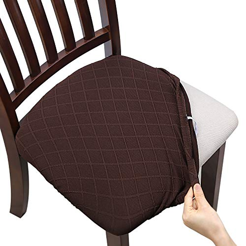 Fuloon Stretch Jacquard Chair Seat Covers,Removable Washable Anti-Dust Dinning Room Chair Seat Cushion Slipcovers (4, Chocolate)