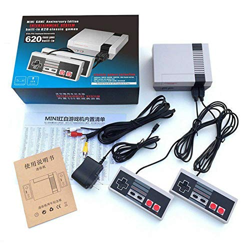 Timstono 620 Retro Game Console Mini Classic Game System with 2 NES Classic Controller and Built-in 620 Games, AV Output and HDMI Output Plug & Play Childhood Mini Classic Console (620 AV Output)