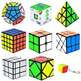 Speed Cube Set, Puzzle Cube,9 Pack Magic Cubes Pyraminx Pyramid + 2x2 + 3x3 + 4x4 + Megaminx + Mirror + Mini 3x3 + Skewb + Fenghuolun Puzzle Cube Toy Gift for Kids & Adults