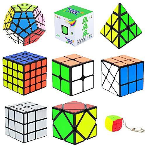 Juego de cubos mágicos, paquete de 9 unidades, Pirámide Piraminx + 2 x 2 + 3 x 3 + 4 x 4 + Megaminx + Espejo + Mini 3 x 3 + Skewb + Fenghuolun, juguete para niños y adultos