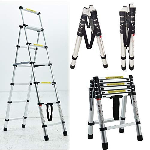 5+6 Step Telescoping Ladder, 5.5ft + 6.5ft A-Frame Aluminum Extension Ladder Lightweight Portable Folding Ladder, Multi-Purpose Adjustable Ladders, Max Load 330lbs
