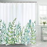 Alishomtll Duschvorhang mit 12 Haken Blätter Badevorhang Waschbar Textil Antischimmel Kinder Badewanne Digitaldruck, 120x180 cm Weiß Grün