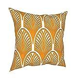 Reebos Funda de almohada de 45,7 x 45,7 cm, naranja, blanco, Art Deco, vintage, diseño de abanico, estilo Art Nouveau, funda de cojín decorativa vintage para sofá, sillón, dormitorios