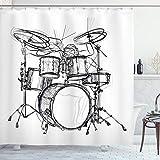 ABAKUHAUS La música Rock Cortina de Baño, Arte del Doodle del batería,...