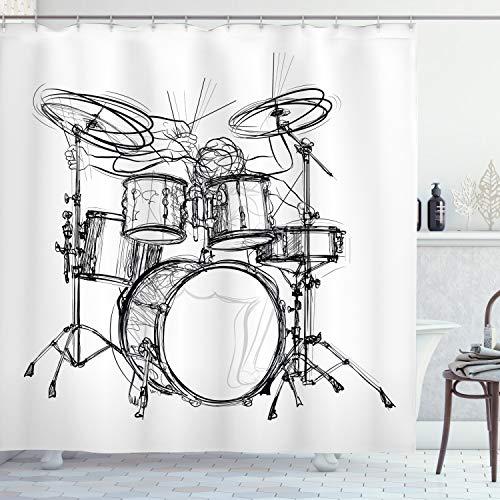 ABAKUHAUS La música Rock Cortina de Baño, Arte del Doodle del batería, Material Resistente al Agua Durable Estampa Digital, 175 x 180 cm, Blanco Negro