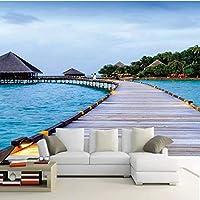 Iusasdz カスタム3D写真壁紙モルディブ海辺の風景3Dリビングルーム寝室テレビ背景家の装飾壁画壁布パペル壁画-150X120Cm