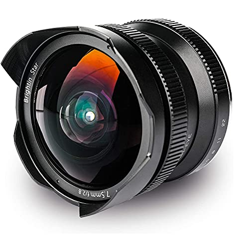 Brightin Star 7.5mm F2.8 Ultra Wide Angle Fisheye Manual Focus Mirrorless Camera Lens for Canon EF-Mount M M2 M3 M5 M6 M6II M10 M100 M50 for Shooting Large Scenes, Landscapes, Buildings, VR, Stadium