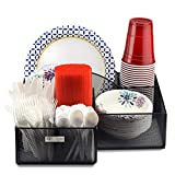 Eltow Black Plate and Cutlery Organizer: Large Kitchen Spoon, Fork, Knives and Cups Holder -Stylish Sturdy Bowl, Napkin and Tableware Dispenser - Home, Restaurant, BBQ and Picnic Plate Organizer Caddy