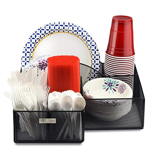 Eltow Plate and Cutlery Organizer Large Kitchen Spoon Fork Knives and Cups Holder - Stylish and Sturdy Bowl Napkin and Tableware Dispenser - Home Restaurant BBQ and Picnic Plate Organizer Caddy