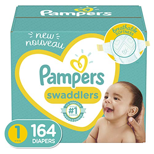 Diapers Newborn/Size 1 (8-14 lb), 164 Count - Pampers Swaddlers Disposable Baby Diapers, Enormous Pack