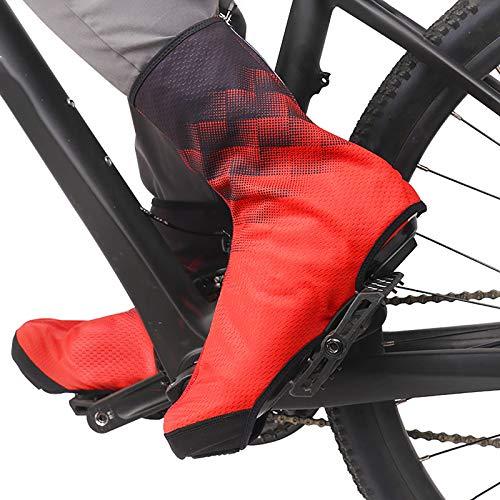 Copriscarpe Invernale Impermeabili da Bici,Copriscarpe Ciclismo,Riutilizzabile Pioggia Scarpe Cover,Antiscivolo con Cerniera Scarpe Cover,Road Bike Mountain Bike velotoze Coprisca(Color:rosso,Size:XL)