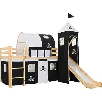 Festnight Cama Infantil Cama Alta para Niños con Tobogán y Escalera, Temática Pirata Madera Pino 97x208 cm: Amazon.es: Hogar