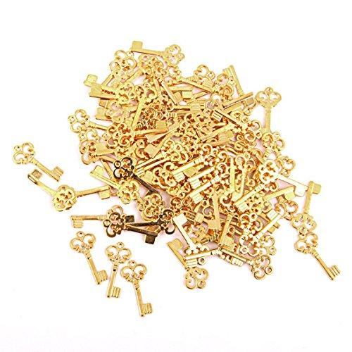 ROSENICE 100 stück Vintage Schlüssel Anhänger zum Basteln für DIY Schmuck Halskette (Gold)