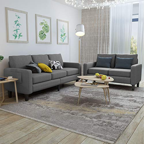 Mecor 2 Piece Living Room Sofa Set Modern Fabric Couch Furniture Upholstered 3 Seat Sofa Couch and Loveseat for Living Room, Bedroom, Office, Apartment, Dorm and Small Space Grey
