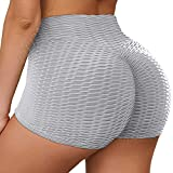 HURMES Women's High Waist Ruched Butt Lifting Workout Anti Cellulite Yoga Shorts Textured Scrunch Booty Sexy Lingerie Tummy Control Short Gym Running Pants Grey