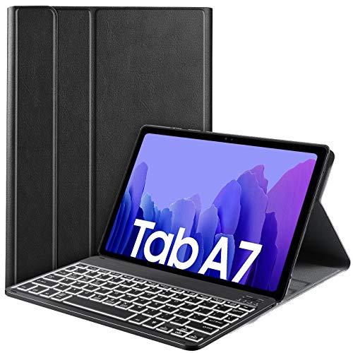 IVSO Compatible Samsung Galaxy Tab A7 Keyboard, Keyboard for Samsung Galaxy Tab A7, 7 Colors Backlit 3 Level Brightness, Wireless Keyboard Case for Samsung Galaxy Tab A7 T505/T500 10.4 2020, Black