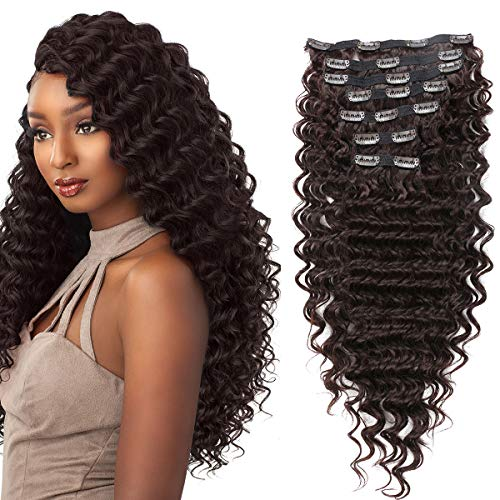 "FASHION LINE Synthetic Curly Clip in Hair Extensions Double Weft Full Head Heat Resistance Deep Wave Clip In 7 Pieces (24"" Deep Wave, Light Brown)"