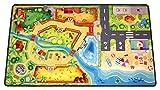 HuggyPlay alfombra de juego para niños, alfombra infantil, diseño zoo, 90 x 150 cm