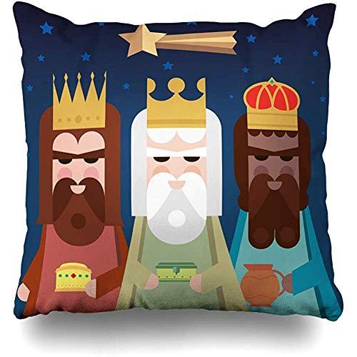fenrris65 Funda de almohada de 45 x 45 cm, para niños, tres decoraciones, reyes, orientales, hombres sabios, francenses, vacaciones, gaspar, tradicional y con letra de rey