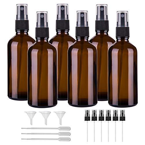 Hydior 4oz Amber Glass Spray Bottle for Essential Oil, Empty Fine Mist Spray Bottle, 6 Pack