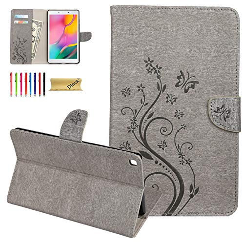 Galaxy Tab A 8.0 Case 2019, Dteck Pretty Nice Cute Butterfly Flip Stand Case PU Leather Folio Pocket Cover for Samsung Galaxy Tab A 8 Inch 2019 Release Tablet Model SM-T290/T295/T297,Gray