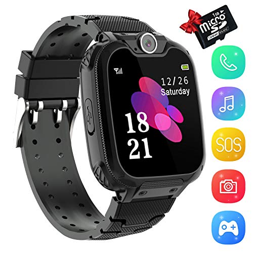 Kids Smartwatch Music Player - 1.54 inch HD Touchscreen Smart Watch Boys Girls with Camera Two-Way Call SOS Calculator Alarm Clock Games Music Watches for 4-12 Year Old [1GB SD Card Include] (Black)