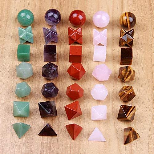 KAPU Carved Crystal Platonic Solids Sacred Geometry Symbols 7 Piece Quartz Amethyt Jasper Merkaba Star Stone Healing Balancing Set,Gold Tiger Eye