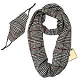 Travel Infinity Scarf with Zipper Pocket - Scarves for Women with Pockets - Travel Scarf with Hidden Pocket Lightweight - Matching Face Mask (Black, White, and Red Houndstooth)