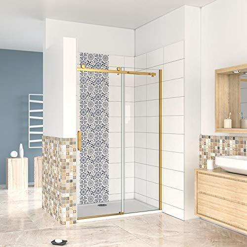 Mampara de ducha corredera fijo+corredera 120x195cm,doble rodamiento, cristal templado 8 mm con tratamiento antical, perfil dorado