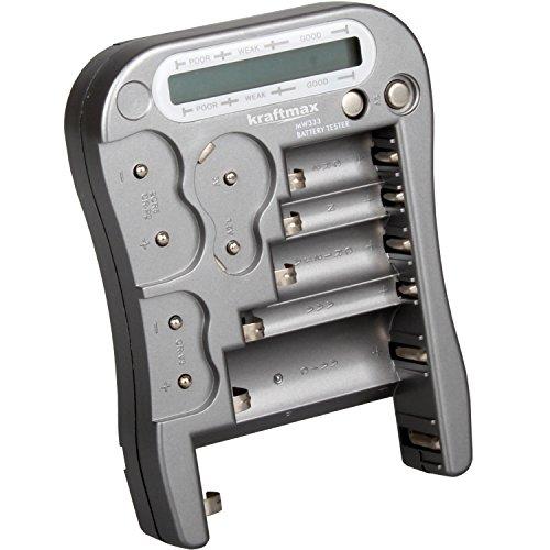 Kraftmax, tester universale per pile e batterie, con display LCD, versione MW333/LX5900,con tester per pile a bottone