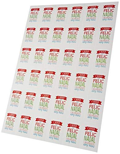 Mopec NX5204.2 Tarjeta precortada vertical BON NADAL I ANY NOU, 3.4 x 5 cm, 36 x hoja, Pack de 5, Papel, Multicolor, 5