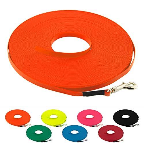 LENNIE Leichte BioThane Schleppleine, 9mm, Hunde bis 5kg, 5m lang, ohne Handschlaufe, Neon-Orange, genäht