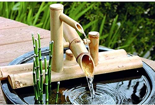 Fuente de bambú Decoración Caño de Agua con Bomba Decoración de jardín Cascada Característica de jardín japonés al Aire Libre