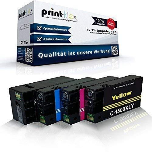4x kompatible Tintenpatronen für Canon Maxify MB 2000 Series MB 2050 MB 2300 MB 2300 Series MB 2350 PGI1500XLBK PGI1500XLC PGI1500XLM PGI1500XLY Schwarz - Black Cyan Magenta Yellow