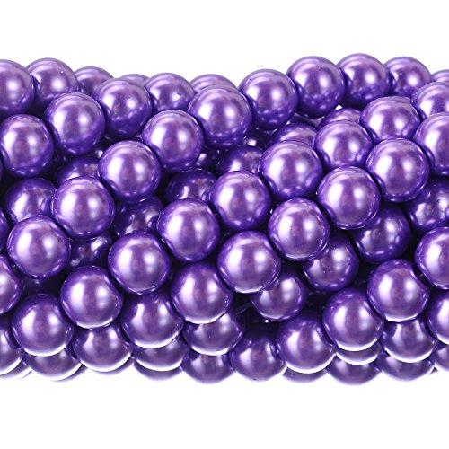 RUBYCA 200Pcs Czech Tiny Satin Luster Glass Pearl Round Beads DIY Jewelry Making 8mm Lavender Purple