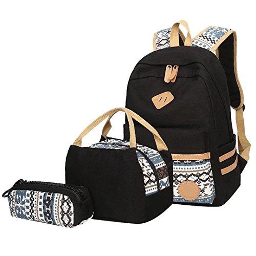 Lababe, set per ragazze in tela, composto da zaino leggero portaPC, borsa da spalla e astuccio A-