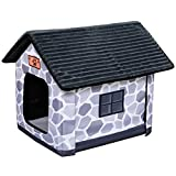 PawHut Heated Kitty House Cat Dog Shelter Cat House with Heated Bed Foldable Pet House Cottage Design, Grey