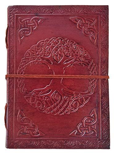 Chic & Zen - diario, agenda, blocchetto per appunti, Vera Pelle, Vintage, Albero di Vita celtica, 13 cm x 17 cm, carta premium