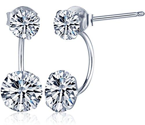 Yumilok Jewelry 925 Sterling Silver Cubic Zirconia Double Ballflower Womens Front and Back Earrings Studs Earring Jackets, Hypoallergenic