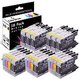 C4P 18-Pack LC71 Ink Cartridges LC-75 Ink LC-79 Ink Replacement for Brother LC75XL LC71XL LC 79XL LC-71 Ink for MFCJ825DW J430W J835DW J625DW J425W MFC-J6510DW MFC-J6710DW MFC-J6910DW (9B3C3M3Y)