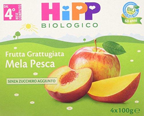 HiPP - Frutta Grattugiata Bio, Gusto Mela e Pesca,Confezione da 24 Vasetti da 100 g