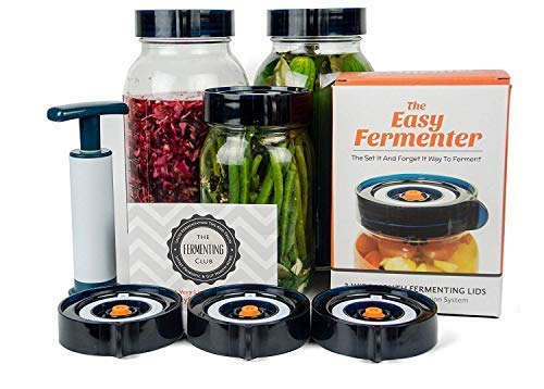 Easy Fermenter Wide Mouth Lid Kit: Simplified Fermenting In Jars Not Crock Pots! Make Sauerkraut, Kimchi, Pickles Or Any Fermented Probiotic Foods. 3 Lids(jars not incld), Extractor Pump & Recipes