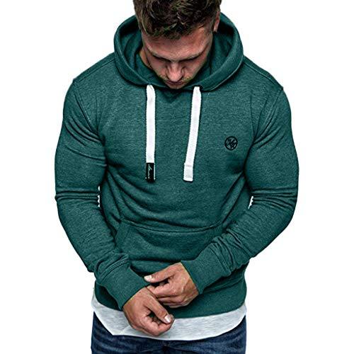 Xmiral Herren Hoodies Top Langarm Lässige Sweatshirt Bluse Trainingsanzüge Einfarbig Mit Große Tasche Kordelzug(XS,Armee Grün)