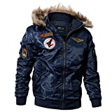 Winter Military Bomber Jacket Men Air Force Army Tactical Jacket Warm Wool Liner Outerwear Parkas Hoodie Pilot Coat Blue XXL